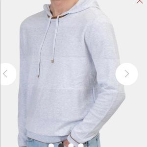 Eleventy Mix Knitted Hoodie in Pearl Grey Size XL